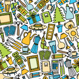 Картина распродажи старых вещей безшовная/цветастая предпосылка объекта Стоковые Фотографии RF