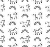 Картина радуг и единорогов черно-белая безшовная Стоковое Изображение