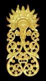 Картина древесины высекает краску золота для украшения на черной предпосылке Стоковое фото RF