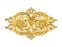 Картина древесины высекает краску золота для украшения на черной предпосылке Стоковая Фотография RF