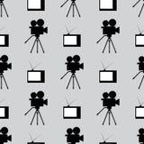 Картина ретро киноиндустрии безшовная Повторяющийся винтажные ТВ и камкордеры Безшовная картина Черный, белый, серый иллюстрация штока