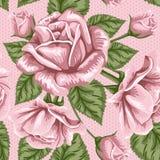 Картина ретро цветка безшовная - розы Стоковая Фотография RF