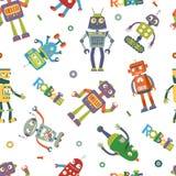 Картина роботов вектора в стиле шаржа Стоковые Изображения