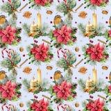 Картина рождества акварели с традиционным оформлением Painte руки Стоковые Изображения