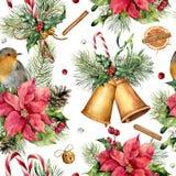 Картина рождества акварели традиционная Вручите покрашенный орнамент с колоколами, робин, ветвь ели, ягоды, падуб, омелу Стоковые Фотографии RF