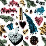 Картина рождества безшовная в винтажном стиле Стоковое Фото