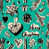 Картина рождества безшовная в винтажном стиле Стоковая Фотография