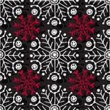 картина рождества безшовная Геометрическая текстура с красными и белыми снежинками Абстрактная бесконечная предпосылка Дизайн век Стоковые Изображения