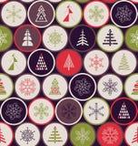 картина рождества безшовная Геометрия снежинок и деревьев иллюстрация вектора