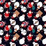 Картина рождества безшовная со снеговиком и Санта Клаусом иллюстрация штока