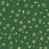 Картина рождества безшовная со снежинками золота на зеленой предпосылке Дизайн праздника на рождество и Новый Год иллюстрация штока