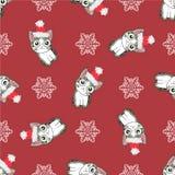 Картина рождества безшовная с изображением маленьких милых котят в шляпе Санта Клауса Стоковые Изображения