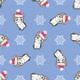 Картина рождества безшовная с изображением маленьких милых котят в шляпе Санта Клауса иллюстрация вектора