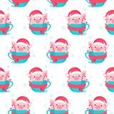Картина рождества безшовная с мультфильмом piggy также вектор иллюстрации притяжки corel иллюстрация штока