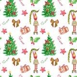 Картина рождества безшовная с рукой покрасила красные и зеленые символы зимних отдыхов Рождественская елка, девушка в свитере, тр стоковая фотография rf