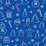 Картина рождества безшовная с снеговиками, деревьями и снежинками нарисованными рукой Стоковые Изображения