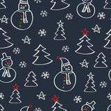 Картина рождества безшовная с снеговиками, елью и снежинками Стоковые Фото