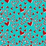 Картина рождества безшовная с тросточкой и сердцами конфеты иллюстрация штока