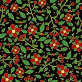 Картина рождества безшовная с цветками Стоковая Фотография RF