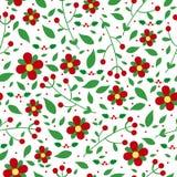 Картина рождества безшовная с цветками Стоковые Фотографии RF