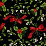 Картина рождества вышивки безшовная с омелой Стоковое Изображение RF