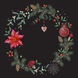 Картина рождества вышивки с цветками, сосной и шариком Стоковое Изображение