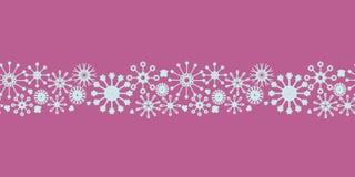 Картина рождества границы снежинок пинка и сини младенца безшовная бесплатная иллюстрация