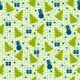 Картина рождества зимы безшовная на зеленой предпосылке иллюстрация штока