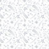 Картина рождества зимы с белыми и серебряными силуэтами снежинок, ягод, листьев, ветвей, снеговика, деревьев иллюстрация штока