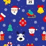 Картина рождества плоская безшовная иллюстрация вектора