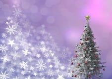 Картина рождества рождественской елки и снежинки Стоковое фото RF