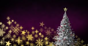 Картина рождества рождественской елки и снежинки Стоковые Изображения RF