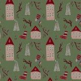 Картина рождества с домами иллюстрация штока