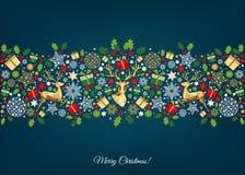 Картина рождества с золотым, красным, зеленым, белым деревом Стоковое фото RF