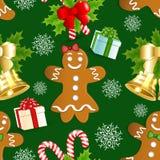 Картина рождества с пряником, падубом и золотым колоколом иллюстрация штока