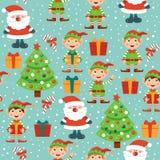 Картина рождества с Санта, рождественской елкой, подарками и эльфами иллюстрация штока