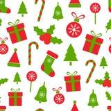 Картина рождества с ягодами падуба, шариками, подарочными коробками, тросточкой конфеты, колоколом, деревом, снежинками С Рождест бесплатная иллюстрация