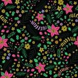 Картина рождества цветков безшовная, цветочный узор Стоковое Изображение