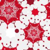 картина рождества безшовная красные снежинки белые Стоковое Изображение RF