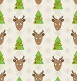 Картина рождества безшовная с оленями Стоковые Фотографии RF
