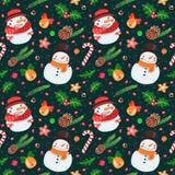 Картина рождества безшовная с снеговиками Стоковая Фотография