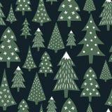 Картина рождества - разнообразные деревья и снежинки Xmas Простая безшовная счастливая предпосылка Нового Года иллюстрация штока