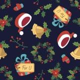 Картина рождества стиля шаржа безшовная Стоковое Фото