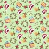 Картина рождества стиля шаржа безшовная Стоковые Изображения RF