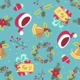 Картина рождества стиля шаржа безшовная Стоковое Изображение