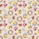 Картина рождества стиля шаржа безшовная Стоковые Фото