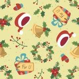 Картина рождества стиля шаржа безшовная Стоковое Изображение RF