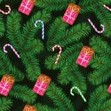 Картина рождества сделанная из лапок, пряника и карамельки ели иллюстрация штока