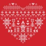 Картина рождества формы сердца с Санта Клаусом на красной предпосылке Стоковая Фотография RF