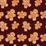 Картина рождества человека пряника безшовная Стоковое Изображение RF